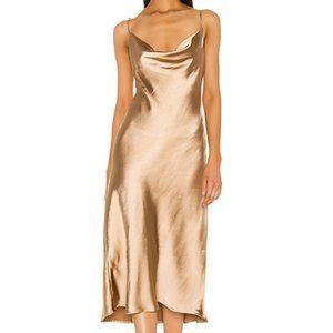 Lovers + Friends Geller Midi Dress Gold Satin Cowl